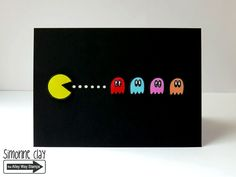 The Alley Way Stamps: Pac Man by Simonne Clay using Old School | handmade card, stamping, Copics, 1980s, retro, computer game, cards, clear stamps, CAS, #TAWS