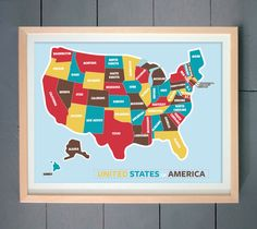Image of Multi-colored USA Map ART PRINT 20x24 inches (51 X 61 cm)