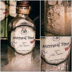DIY Harry Potter Potions for Halloween: Mermaid Tears in Vintage Flavoring bottle
