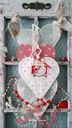 Valentine's Day hearts, wire hearts, red and white decor, shabby chic