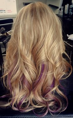 Blonde with a pop of purple
