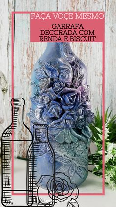 Wine Bottle Art, Glass Bottle Crafts, Diy Bottle, Diy Crafts Room Decor, Vase Crafts, Hand Painted Fabric, Clay Art Projects, Decoration, Bottle Art