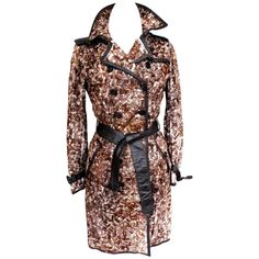Burberry Brown Abstract Print Rabbit Fur Leather Trench Coat UK 8   From a collection of rare vintage coats and outerwear at https://www.1stdibs.com/fashion/clothing/coats-outerwear/
