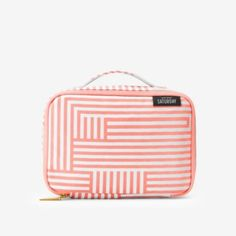Stand-Up Cosmetic Case in Neon Coral Signature Zig Zag