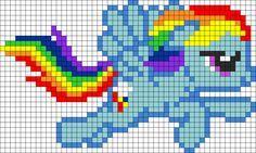 My Little Pony - Rainbow Dash Pony Bead Patterns, Pearler Bead Patterns, Kandi Patterns, Perler Patterns, Beading Patterns, Cross Stitch Patterns, Mosaic Patterns, Rainbow Dash, Loom Bands