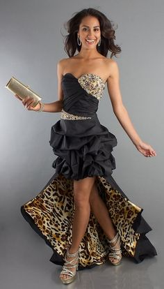 Black Bubble High Low Dress Formal Animal Leopard Print Strapless