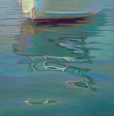 Daily Painting: Seascape, Boat Reflection, Soft light, Provincetown, Harbor , painting by artist Nancy Poucher