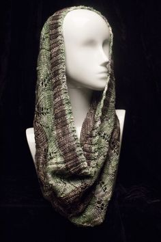 Hand Knit Infinity Scarf - Lace and Beaded - Merino Wool, Cashmere, and Silk - Variegated Grey with Green (also known as a cowl) by VibrantFiberArt on Etsy