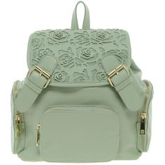 Asos Backpack With Mini Floral Cut Out ($67) ❤ liked on Polyvore