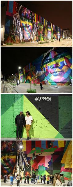 """Largest spray painted mural (by a team): Artist Eduardo """"Kobra"""" Kobra has tirelessly designed a canvas of immense hue and history that embraces the magnitude of his art. Each portrait in the spray-painted composition exhibits the aged faces of the Huli people from New Guinea, the Mursi from Ethiopia, the Kayin from Thailand, the Supi from Europe, and the Tapajos from the Americas.    At 51 feet in height and stretching 560 feet in width, the faces watch over Rio de Jainero."""
