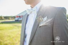 DIY grooms boutonnière fishing rustic wedding fly fishing lure and burlap mint green bow tie grey groom