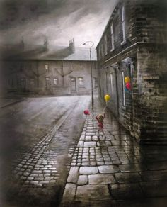Bob Barker is a UK based artist, born and bred in Yorkshire. It's taken Bob Barker twenty years for his long time love of painting to evolve from a hobby to the point where interest in his work has taken on worldwide awareness. Nostalgic Art, Urban Life, Urban Landscape, Pictures To Paint, Dark Art, Color Splash, Color Pop, Watercolor Paintings, Painting Art