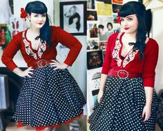 Rockabilly - love the lace applique on the cardigan.