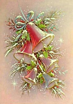 Pink Bells-Vintage Christmas Greeting Card I think this is such a pretty picture Christmas Tree Scent, Old Christmas, Retro Christmas, Christmas Bells, Christmas Holidays, Christmas Crafts, Christmas Decorations, Christmas Greeting Cards, Vintage Greeting Cards