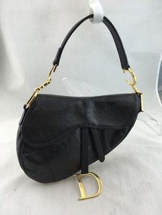 cc463869e4bea CHRISTIAN DIOR OSTRICH EMBOSSED LEATHER GOLD CD SMALL SADDLE SHOULDER BAG