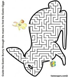 Printable Easter bunny maze to find the eggs worksheet - Printable Coloring Pages For Kids