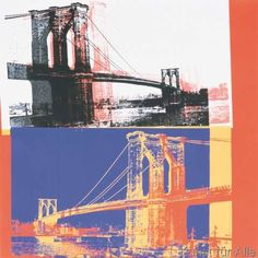 Andy Warhol - Brooklyn Bridge, 1983 (black bridge/white background)