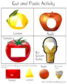 cut and paste printable foods