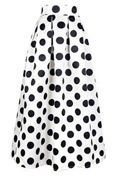 8f752c99a9a14 Lovezesent Womens Polka Dot Print Maxi Skirts High Waist Dresses Small White  ** You can