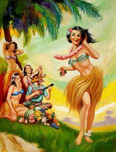 A Hula Girl Serenade Artist: Lloyd Rognan Date: 1950s