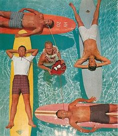 1963 Jantzen ad - I want to know how the guy with the shirt got on the board without getting it wet.