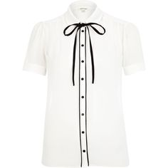 What Would Snow White Wear? Cream contrast trim bow dolly blouse from River Island.