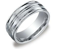 Men's 14k White Gold 8mm Comfort Fit Plain Wedding Band with Satin Finish and Polished Center Cut Amazon Curated Collection. $749.00. Made in the USA