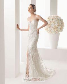 2015 Stylish A-line Strapless Lace Sweep Train Wedding Dress [SWD-28603] - $ 279.99 :