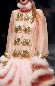 The amazing John Galliano. Soft pink collar, cuffs, hem, sheer pink and gold flower appliques. The styling is gorge!