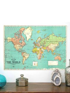 Vintage World Map Poster....want one of these!!!!