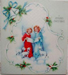 Caroling Angels - 1940's Vintage Christmas Greeting Card #