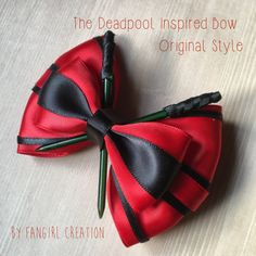 The Deadpool Inspired Bow Collection is inspired by the badass that is Deadpool from the Marvel Universe. Photographed is the original style bow.