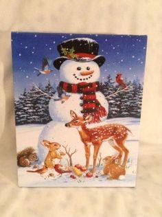 "CUTE MR CHRISTMAS 8"" X 10"" ILLUMINATED CANVAS ARTWORK SNOWMAN CHRISTMAS"