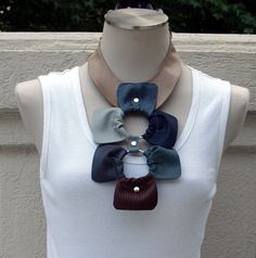 Brown Leather Bib Necklace with Leather by ElegantElementsOnlin, $85.00
