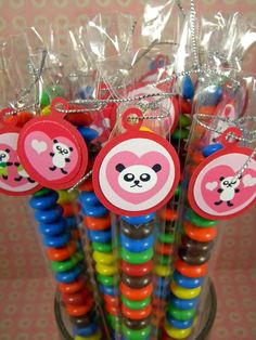 Valentine Panda Bear Candy Treat Bags Set by CarasScrapNStampArt, $7.00