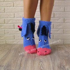The cutest wool knit socks ever! Eeyore knitted socks , the donkey from Winnie the Pooh! Socks - handmade gift! Perfect to give as a gift.  Very warm and cozy, perfect for cold winters, to run around the house.  Winnie the Pooh Donkey Cute Gift for Any Occasion  Funny gifts are always