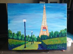 Eiffel Tower  Acrylic on canvas (16x20) Art Social evening.  Strong composition and the lights are well executed.  The shadows work and it's a nice painting.