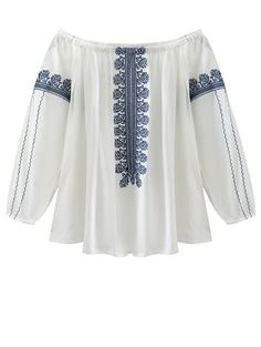Off The Shoulder Embroidery Lantern Sleeve Blouse