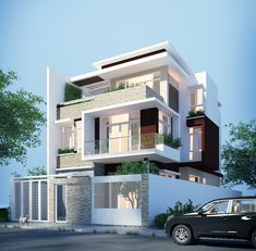 This three storey modern house design can be built in a lot having a total area of 250 square meters having four bedrooms and 5 toilet and bath. 3 Storey House Design, Two Story House Design, Duplex House Design, Townhouse Designs, House Front Design, Modern House Design, Modern House Philippines, Narrow House Designs, Bungalow Haus Design