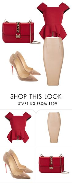 """""""Nudes and Reds"""" by mkartall ❤ liked on Polyvore featuring Roland Mouret, Christian Louboutin and Valentino"""