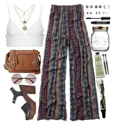 A fashion look from April 2015 featuring layering shirts, wide leg palazzo pants and kohl shoes. Browse and shop related looks. Indie Outfits, Retro Outfits, Boho Outfits, Summer Outfits, Fashion Outfits, Mode Hippie, Hippie Style, Swaggy Outfits, Cute Casual Outfits