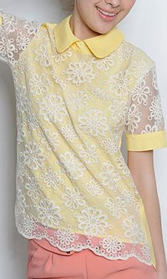 Short sleeve lace blouse 1772 Yellow