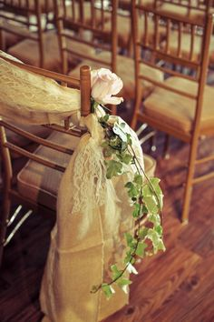 Burlap, lace and ivy aisle decor @rachel Langely gets the green in there