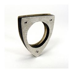 Silver Bronze and Resin Exposed Rivet Ring  Conjure by mkwind, $75.00