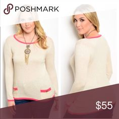 {Plus} Taupe/Rose Sweater with Pockets Just in!!! Super cute sweater with pockets in the front and a pretty coral trim. 100% Cotton sizes 1X-3X - comes in original packaging. (Says taupe/rose but I think it looks more like a coral) Sweaters Crew & Scoop Necks