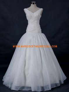 Fantastic V-neck White Beading Organza Wedding Gown Cheap
