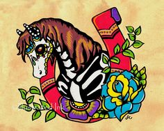 Day of the Dead HORSE Old School Tattoo by illustratedink on Etsy