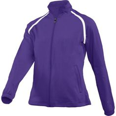 Polyester/Spandex Performance Fleece, Zippered Front Slash Pockets, Raglan Sleeves with Elastic Cuffs, Cordlock Adjustment at Hem, Imported Tennis Uniforms, Polyester Spandex, Zipper, Purple, Sleeves, Fashion, Moda, Fashion Styles, Viola