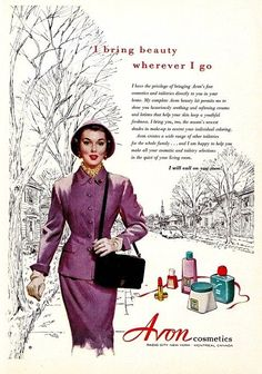 """mom and I loved it when the """"Avon lady"""" came to the door. She gave away free samples including tiny little lipsticks!My mom and I loved it when the """"Avon lady"""" came to the door. She gave away free samples including tiny little lipsticks! Old Advertisements, Retro Advertising, Retro Ads, Vintage Makeup, Vintage Avon, Vintage Beauty, Beauty Ad, Perfume, Old Ads"""