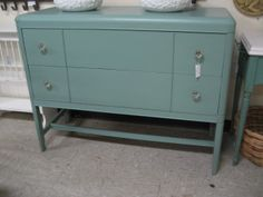 MID CENTURY BUFFET TEAL BLYE GLASS KNOBS $169
